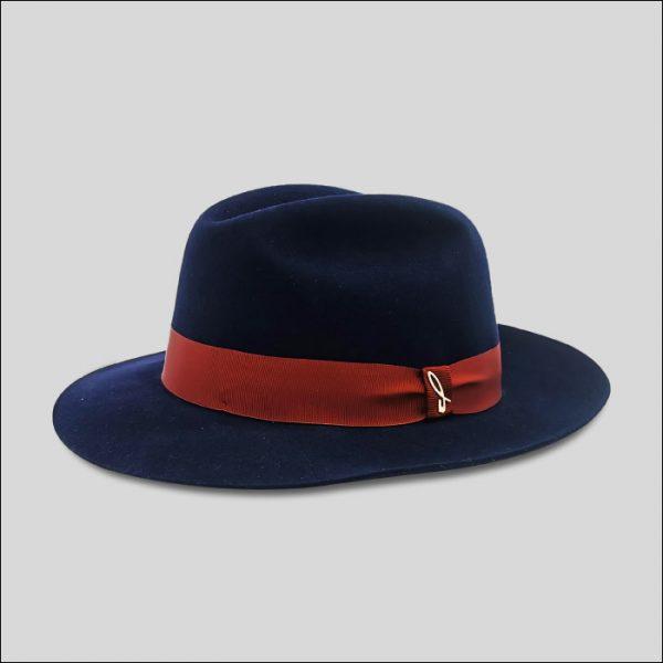 Cappello Fedora Blu in Feltro ad Ala Media Modello Roberto