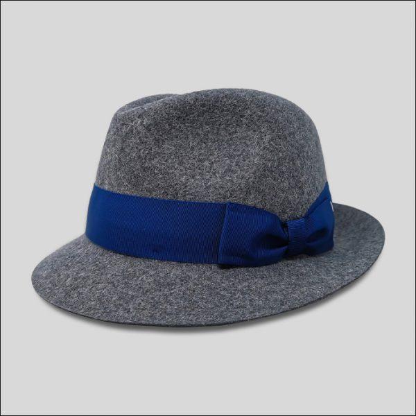 Cappello Trilby in feltro rasato effetto melange grigio modello james