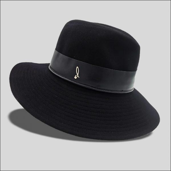 Cappello Drop ala larga cinta in pelle Modello Ingrid