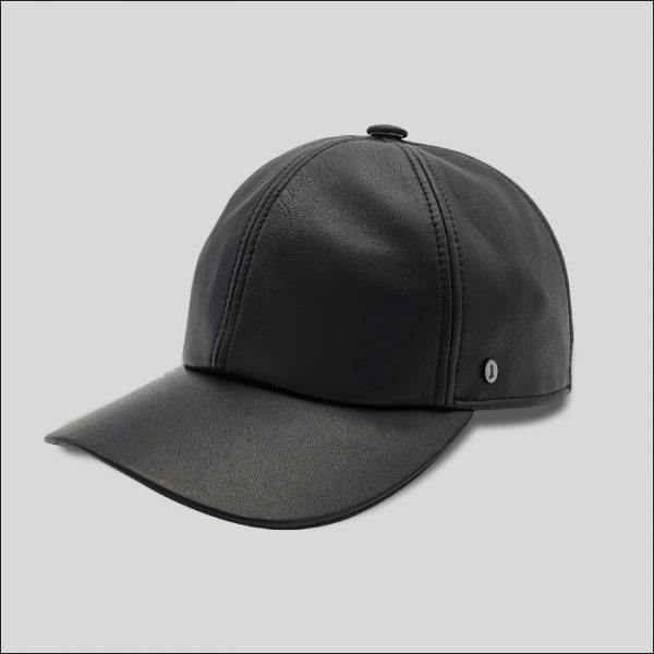 cappello da baseball in pelle nero modello Tender