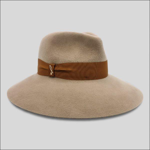 Cappello Drop ad Ala Larga Beige da Donna