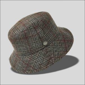 Cappello Bucket in tessuto principe di galles