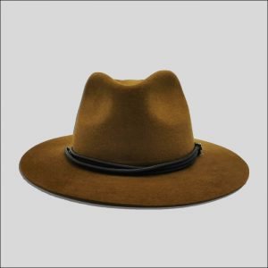 Cappello Drop marrone con cinta in cotone e pelle