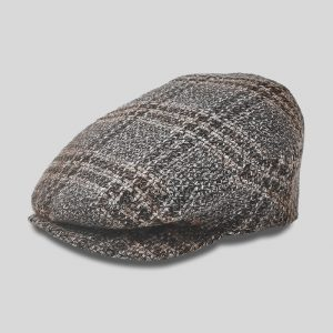 Coppola a piatto sfilata in tessuto tweed