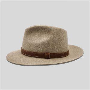 cappello in feltro effetto melange beige
