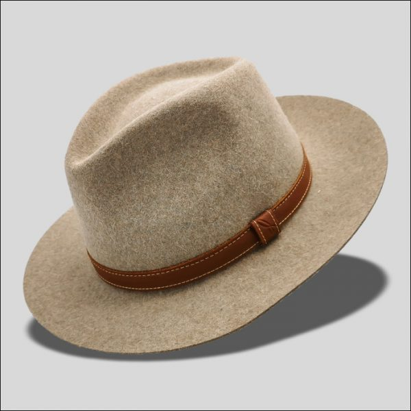 Cappello Drop in feltro rasato con cinta in pelle modello Orlando