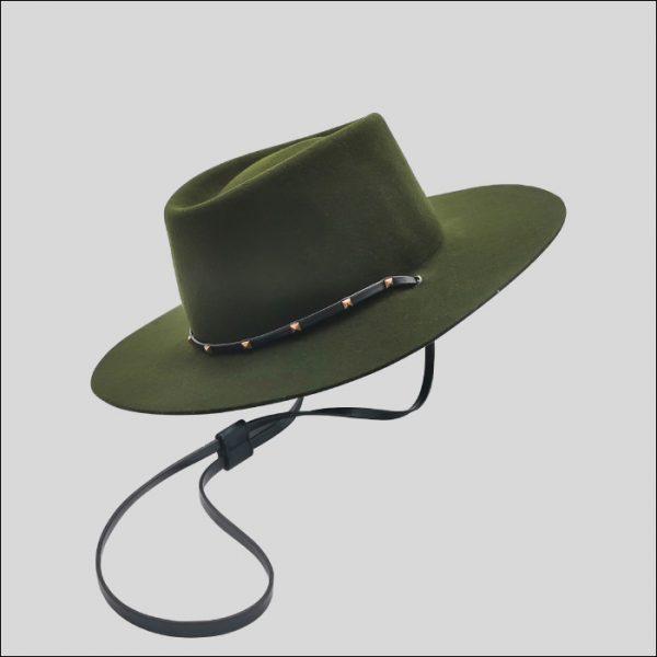 Cappello ad ala piatta in feltro di lana con laccio regolabile modello Tucson